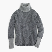 J.Crew Womens Relaxed Fleece Turtleneck With Cashmere Trim