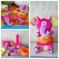 Colorful Elephant Stacked Layers Rustle/Squeaky Early Educational Baby Toy 0-12 Months