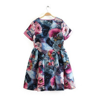 Summer Vintage Gradient Print Round-neck Short Sleeve High Rise Leaf Skirt One Piece Dress [4917847620]