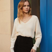 UO V-Neck Pull-Over Chenille Sweater | Urban Outfitters