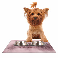 """Suzanne Carter """"Mountain"""" Pink Digital Typography Dog Place Mat"""