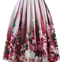 Hot Pink Floral Tulle Print Midi Skirt Pink
