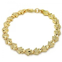 Gold Layered 03.100.0039.08 Fancy Bracelet, Diamond Cutting Finish, Golden Tone
