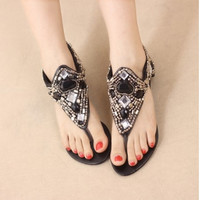 Fashion Wedge Mid Heel T Strap Black PU Sandals