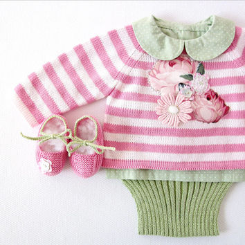 Knitted striped sweater, diaper cover and shoes in pink/green, with flowers. 100% cotton. READY TO SHIP size newborn.