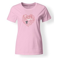 Love Hearts and  Weimaraner T-shirt Ladies Cut Short Sleeve Double ExtraLarge BB4490-978-2XL