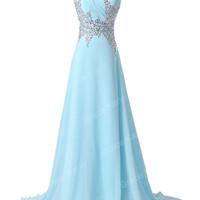 2014 Long One shoulder Formal Bridal Bridesmaid Gown Evening Prom Cocktail dress