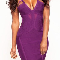 Purple Spaghetti Strap Backless Bandage Dress