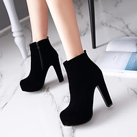 Flock Zipper Platform Ankle Boots High Heels  3828