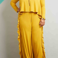 Mustard Ruffles Jumpsuit - Curvaceous