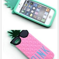 Nine States High Qaulity Cute Pineapple with Funny Sunglasses Protective Shell Soft Silicone Back Case Cover Compatible for Apple Iphone Apple 5 5s 5g Pink (Colour Varies)