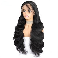 4X4 Lace Front Wigs Brazilian Body Wave Lace Front Wig Pre Plucked Human Remy Hair
