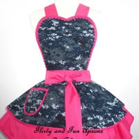 NWU Digital Camo Navy Apron with Hot Pink Ready to Ship