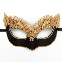Black & Gold Lace Masquerade Mask - Venetian Style Halloween Mask With Embroidery - For Masquerade Ball, Prom, Costume Party, Wedding