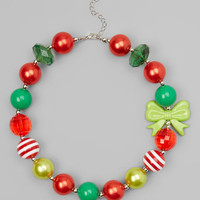 Bubblegum Necklace Holiday Red & Lime Green Bow