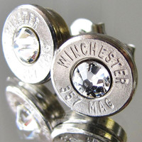357 MAGNUM Winchester BULLET Earrings Choice Crystal Silver Nickel Gold Brass Jewelry Necklace Pendant Belly Navel Ring Bottle Opener Avail