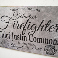 Volunteer Firefighter Service Sign, Volunteer Fireman Sign, Firefighter Gift, Fireman Gift, Firefighter Decor - Herosigns