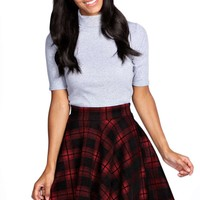 Ella Hoched Check Skater Skirt
