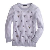 J.Crew Womens Jeweled-Cluster Sweater In Lavender