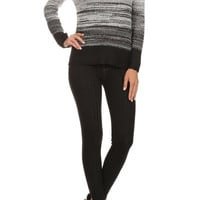 Black Knit Ombre Sweater