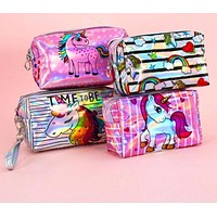 Cute Unicorn Zipper Cosmetic Pencil Bag