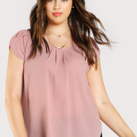 Plus Tulip Sleeve Pleated Neck Top
