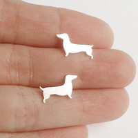 dachshund earring studs in sterling silver, sausage dog earring studs, handmade in the UK