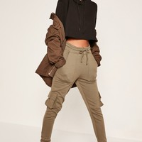 Missguided - Khaki Side Pocket Cuffed Joggers