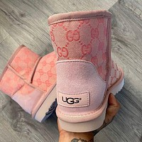 UGG fashion GG letters full print high-top snow boots pink ladies snow shoes