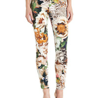 Floral Print Zippered Skinny Pants With Pockets