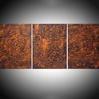 "ARTFINDER: triptych 3 panel wall decor art "" Orange Peel "" acrylic three part impasto effect 3 panel on canvas wall abstract 54 x 24 "" by Stuart Wright - "" Orange Peel "" extra large triptych 3 piece im..."