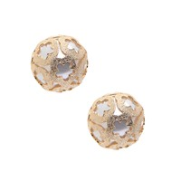 Floral Decor over Faux Pearl Big Ball Earrings