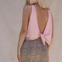 Live Fast Rose Open Tie Back Crop Tank