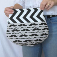 Clutch. Mustache Fold Over Pouch. Makeup Bag. Small Purse. Zipper Clutch. Large Pouch. Choose Combo Fabric. Casual Chic. Summer Fashion.