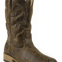 Roper Mens Western Sqtoe Faux Leathr Sole Boots All Over Tan Vintage Faux Sq. Toe