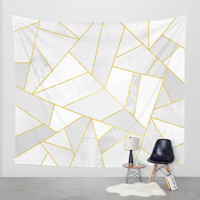 White Stone Wall Tapestry by Elisabeth Fredriksson