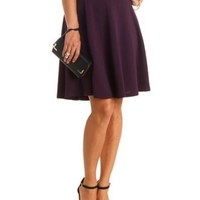 Textured High-Waisted Full Midi Skirt by Charlotte Russe - Purple