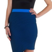 Two-Tone Mesh Asymmetrical Skirt by Charlotte Russe