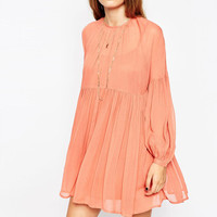 Peach Loose Lantern-Sleeve Chiffon Dress
