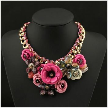 BEADY FLORAL CHOKER NECKLACE - ROSE PINK