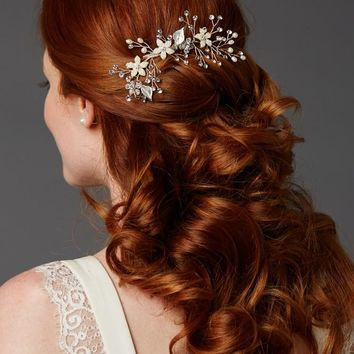 Silver Bridal Hair Comb with Leaves, Freshwater Pearl and Crystals