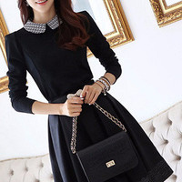Black Long Sleeve Peter Pan Collar Pleated Dress
