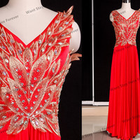 Gorgeous All Red and Golden Embriodery Lace Beading Straps V Neck Column Floor Length Long Evening Gown,evening dress,wedding dress