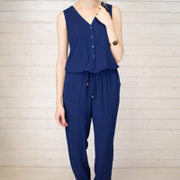 Button Front Casual Jumpsuit