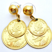 Coin Earrings, Vintage Dangle, Gold Tone, Pierced Round, Balboa Coins, Fashion Jewellery, Boho Jewelry, Bohemian Hipster, Women's Gifts