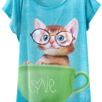 Kitten In The Cup Print Short Sleeve Graphic Tee