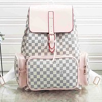 LV Backpack Louis Vuitton Women man Bag White Pink