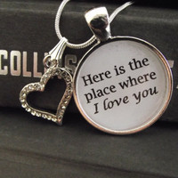 """Here is the place where I love you- Hunger Games- buy two get one free- includes a 16"""" or 18"""" snake chain- READY TO SHIP"""