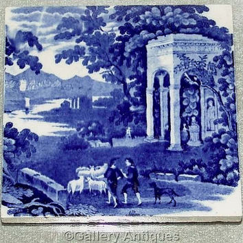 Rare / Scarce Antique Wedgwood Landscape Pattern / Series Blue and White Transferware 15cm x 15cm Ceramic Square Tile c.1885 (ref: 180610)
