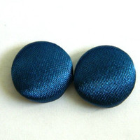 Button Earrings Midnight Blue Satin Shiny Simple Classic